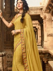 Faux Georgette Yellow Printed Saree