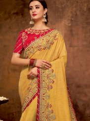 Faux Georgette Yellow Traditional Designer Saree