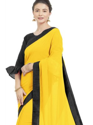 Faux Georgette Yellow Trendy Saree