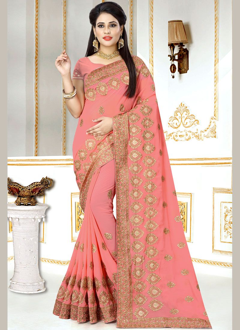 Faux Georgette Zari Pink Designer Traditional Saree