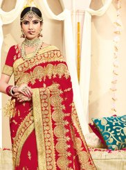 Faux Georgette Zari Red Classic Designer Saree