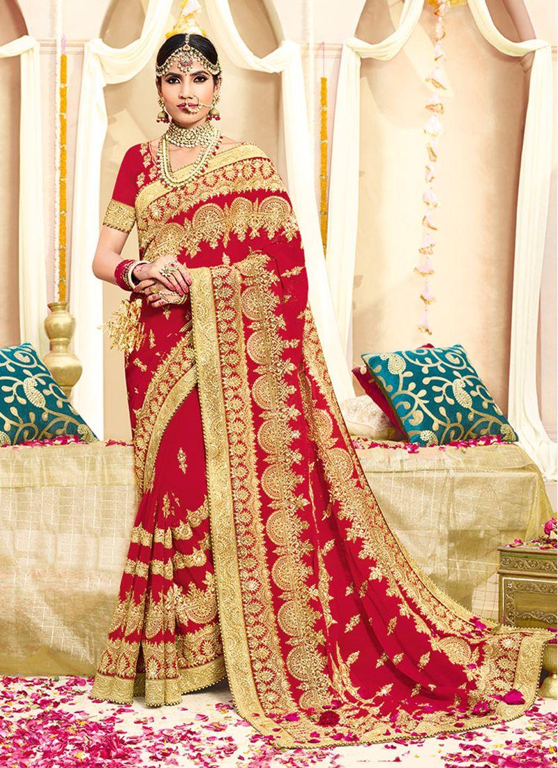 Faux Georgette Zari Red Classic Designer Saree