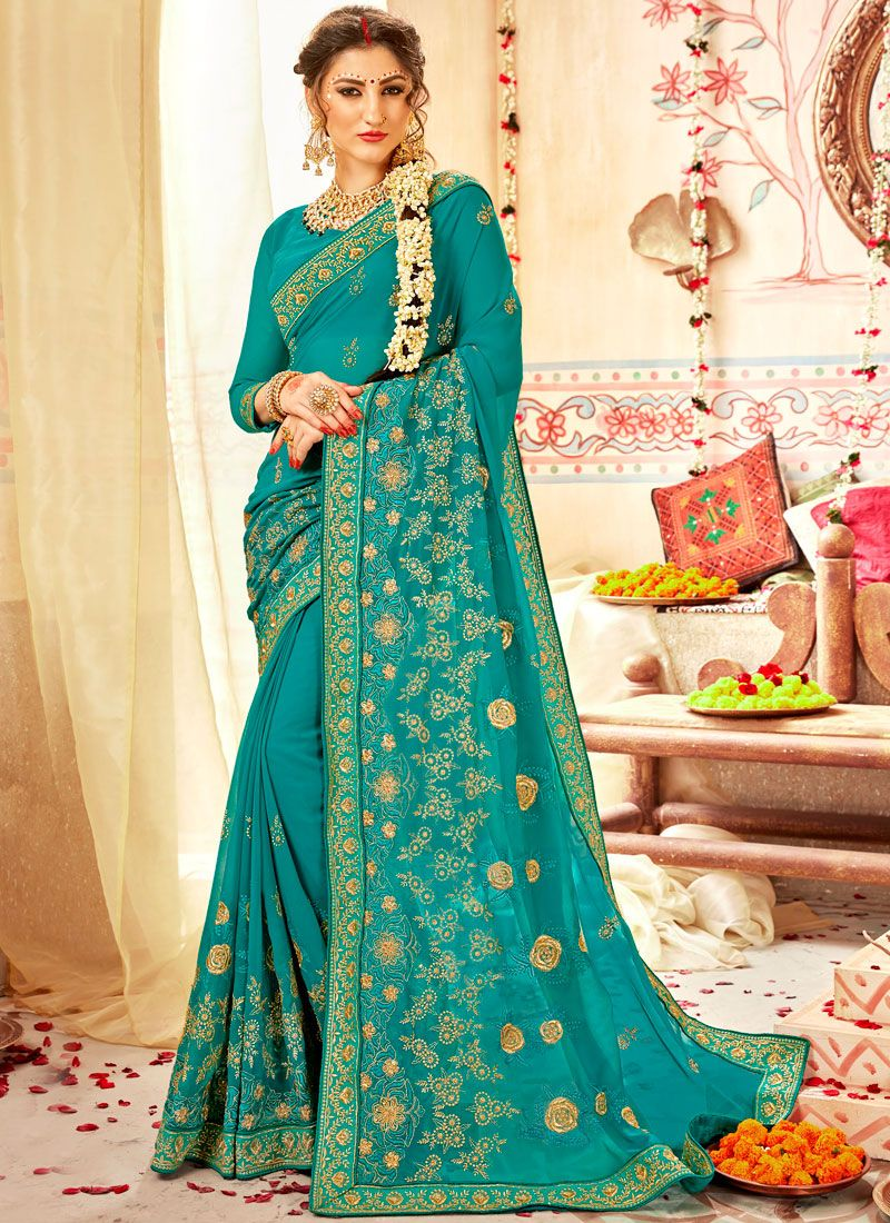 Faux Georgette Zari Traditional Designer Saree