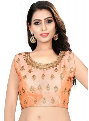 Favoured Peach Color Designer Blouse With Embroidery Work