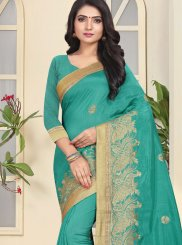 Firozi Art Silk Ceremonial Traditional Designer Saree