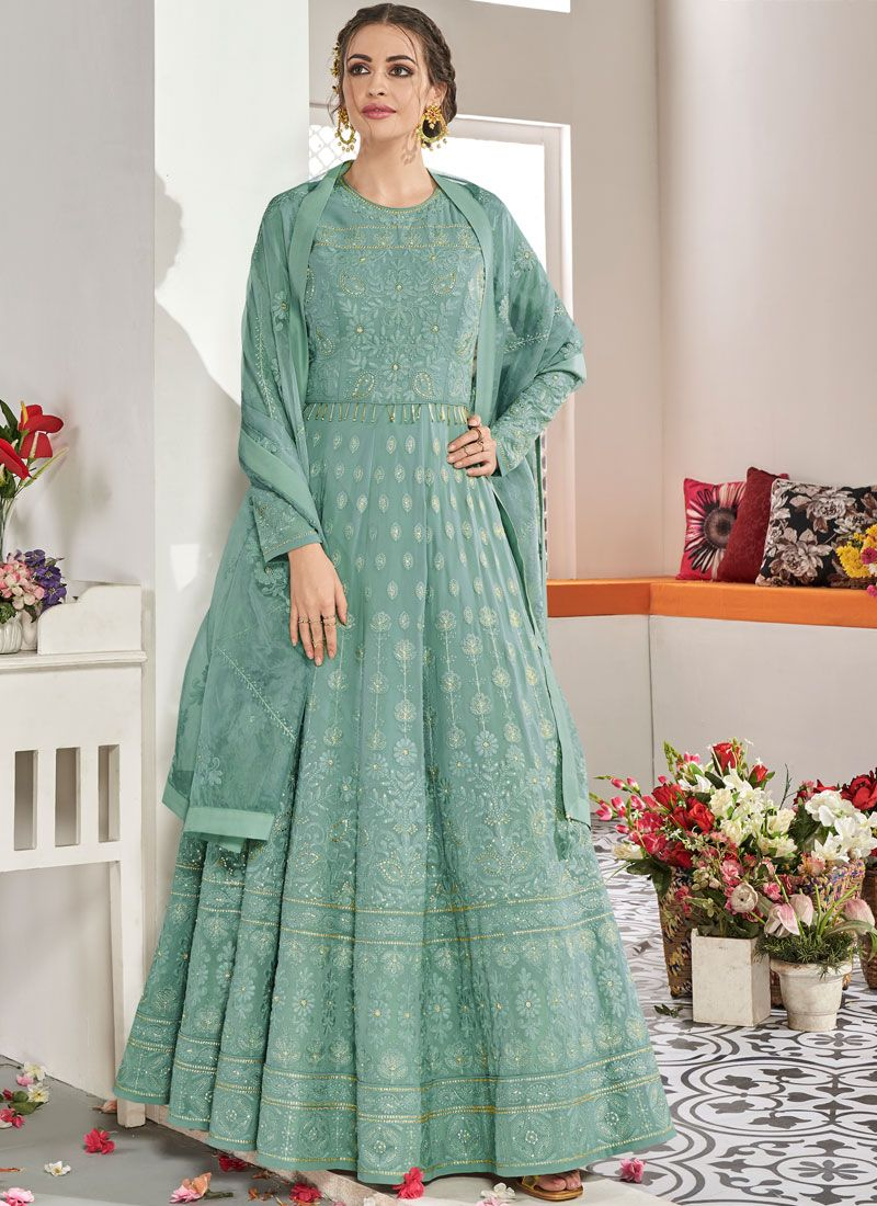 Firozi Embroidered Trendy Anarkali Salwar Kameez