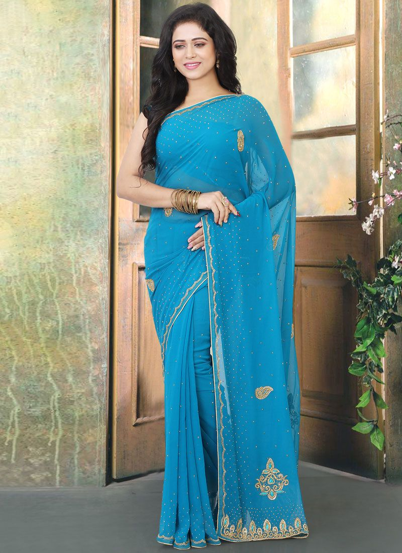 Firozi Faux Georgette Ceremonial Designer Traditional Saree