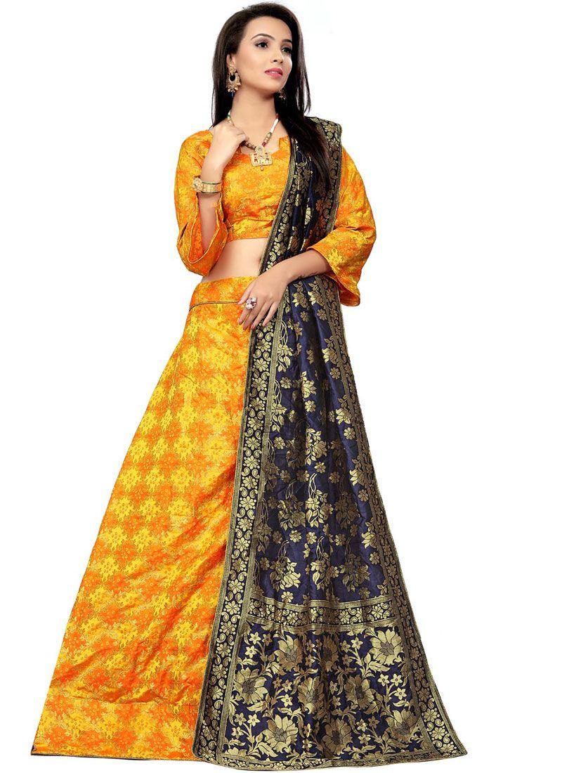 Yellow Jacquard Mehndi Designer Lehenga Choli