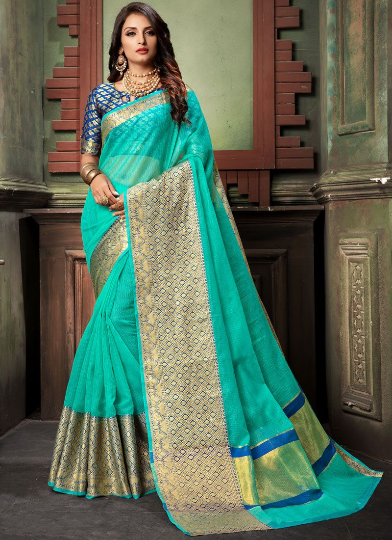 Firozi Woven Cotton Classic Designer Saree