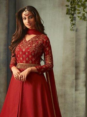 Floor Length Anarkali Suit Embroidered Art Silk in Maroon