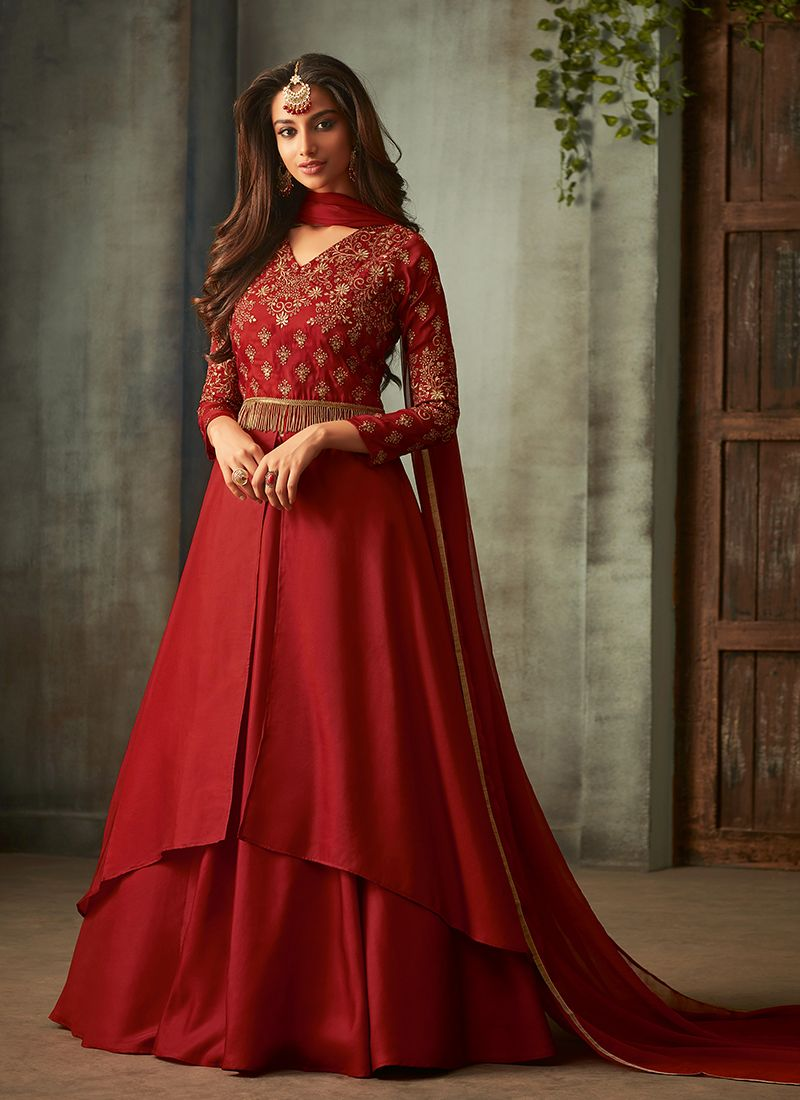 Floor Length Anarkali Suit Embroidered Art Silk in Maroon