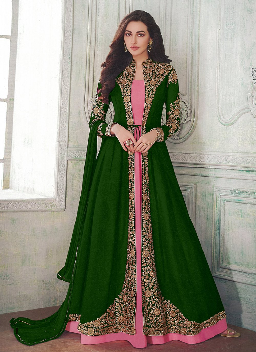 Floor Length Anarkali Suit Embroidered Faux Georgette in Green and Pink