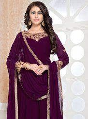 Floor Length Anarkali Suit Embroidered Faux Georgette in Wine