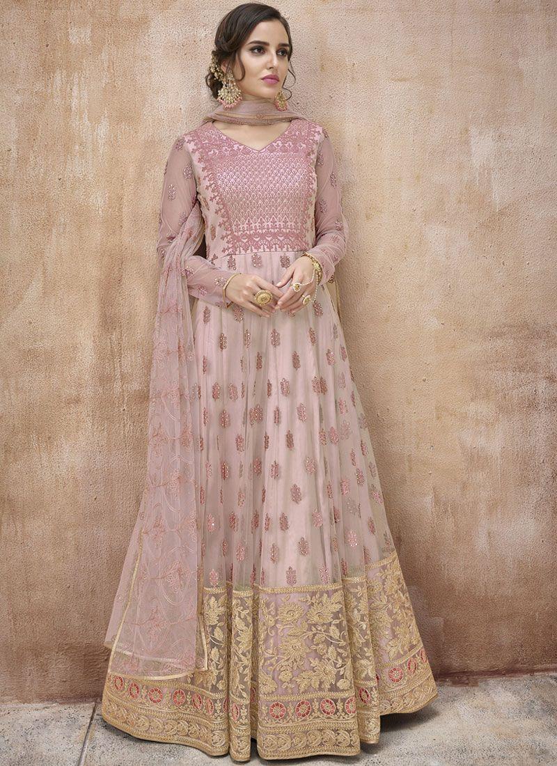 Floor Length Anarkali Suit Embroidered Net in Pink