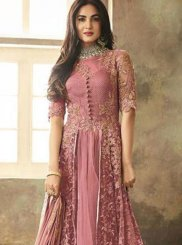 Floor Length Anarkali Suit Embroidered Net in Pink