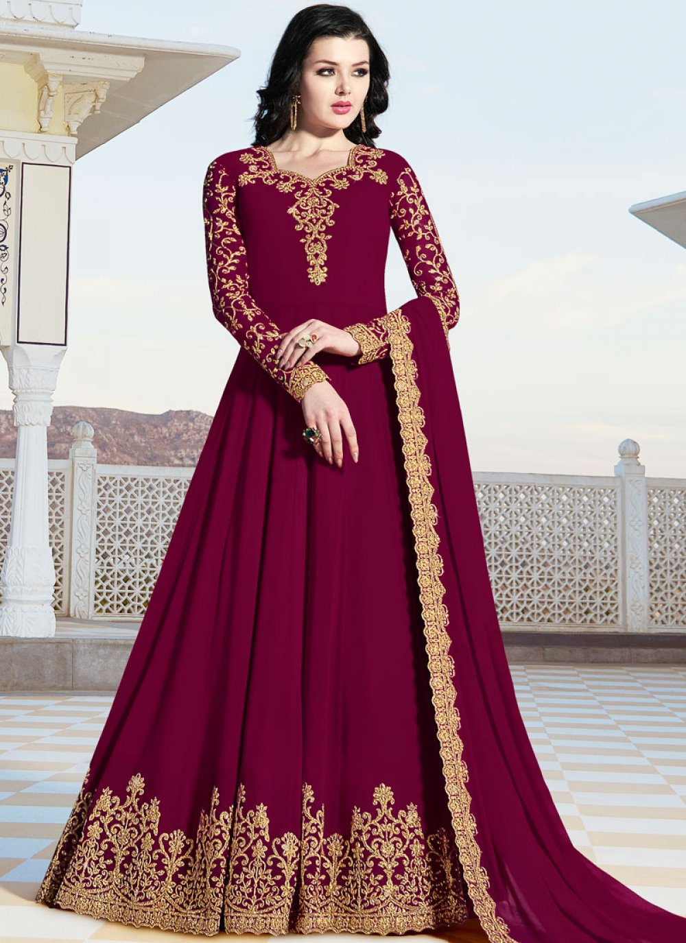 Floor Length Anarkali Suit For Festival