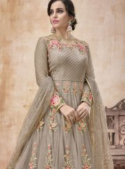 Floor Length Anarkali Suit Lace Net in Grey