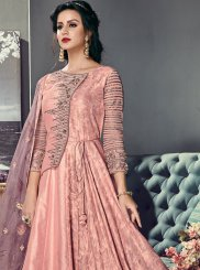 Floor Length Anarkali Suit Resham Art Silk in Pink