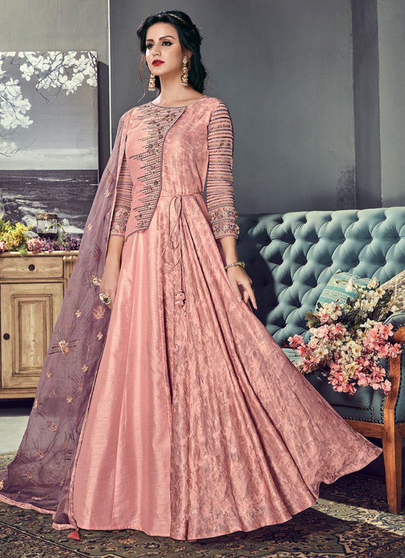 Floor Length Anarkali Suit Resham Art Silk in Pink
