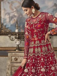 Floor Length Anarkali Suit Resham Net in Red