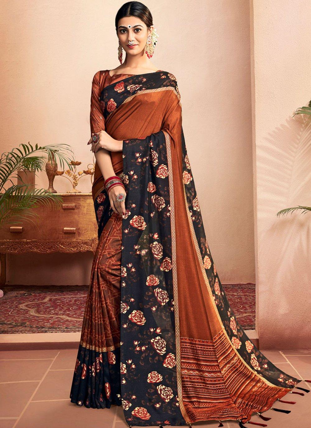 Floral Print Chanderi Classic Designer Saree