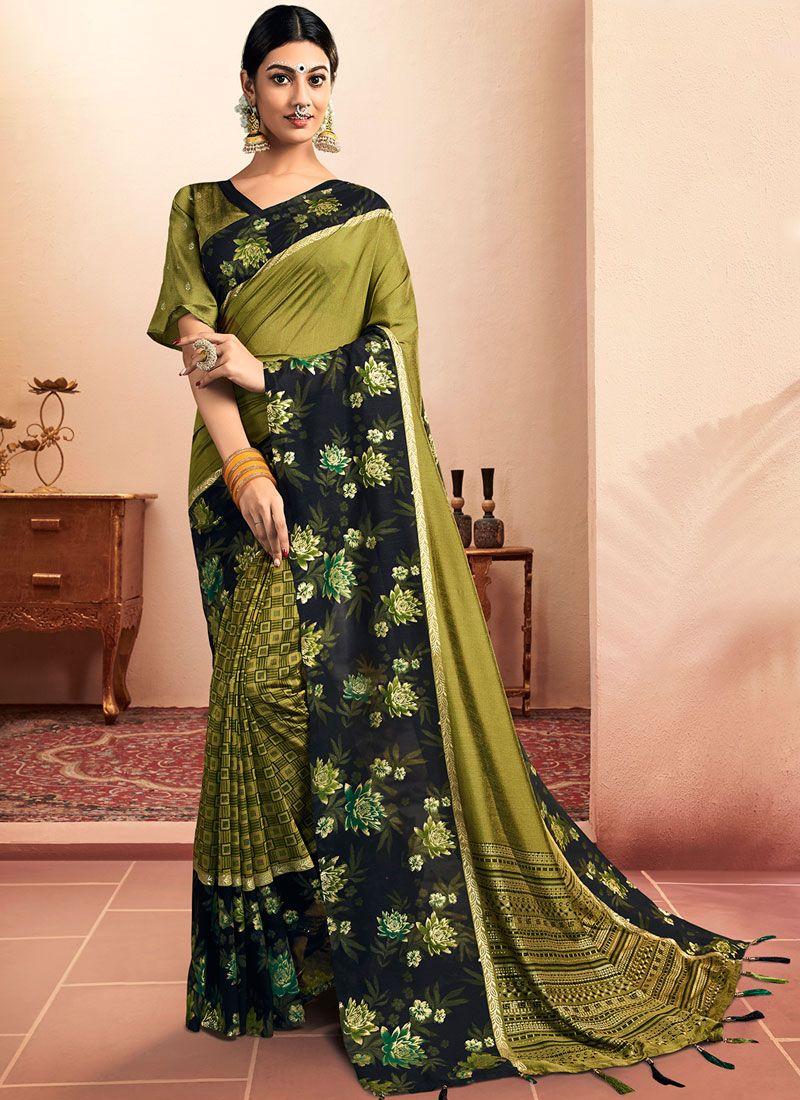 Floral Print Green Chanderi Classic Designer Saree