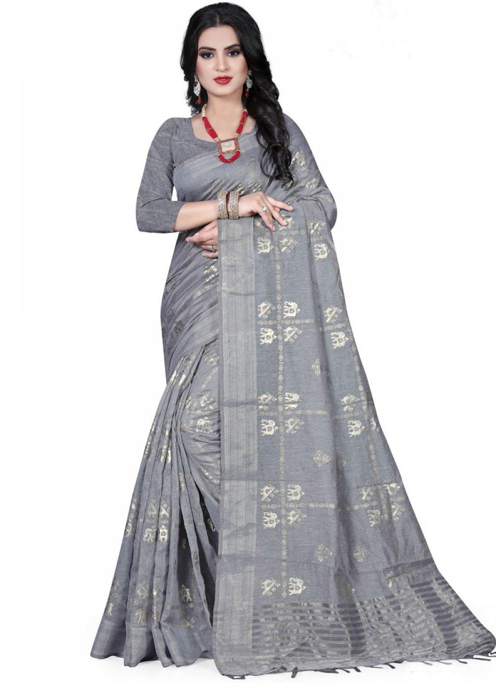 Foil print Art Silk Designer Traditional Saree in Grey