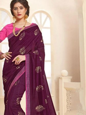 Foil print Art Silk Trendy Saree in Purple