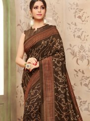 Foil print Brown Casual Saree