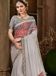Foil print Faux Chiffon Designer Saree in Grey