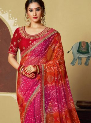 Foil print Georgette Multi Colour Printed Saree