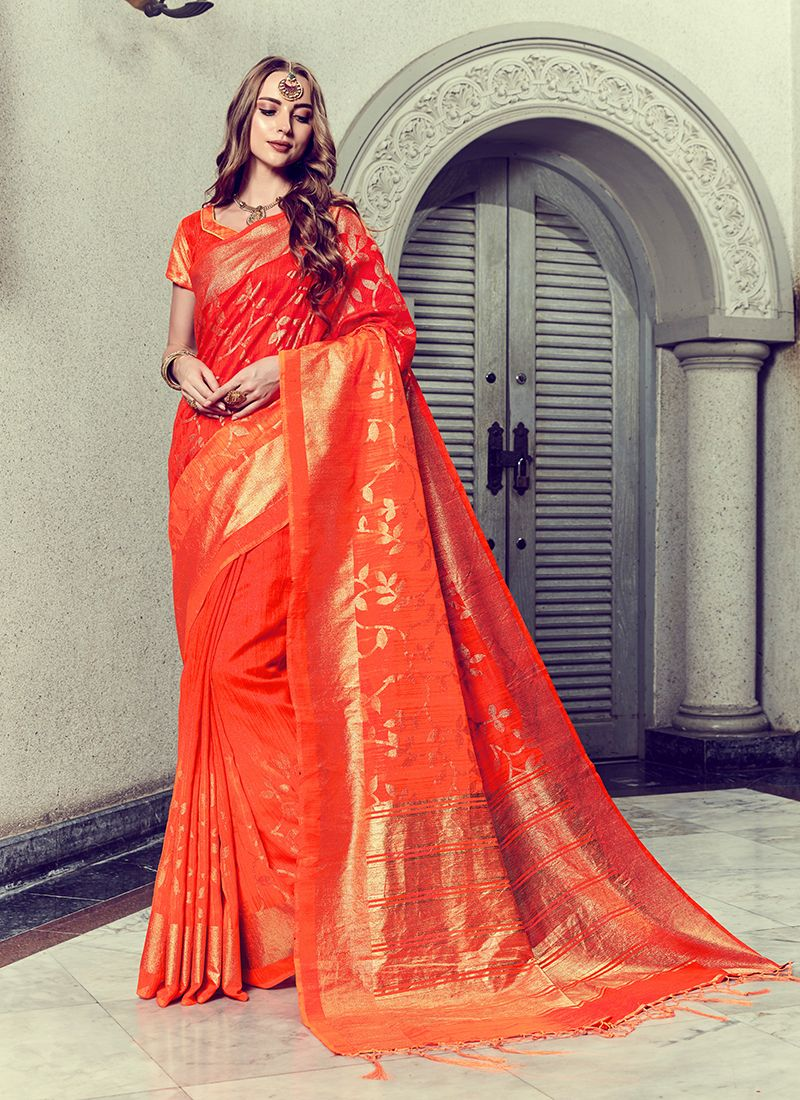 Foil print Red Trendy Saree