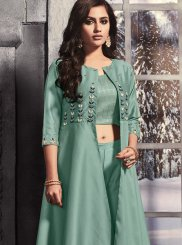 Foil Sea Green Embroidered Pant Style Suit