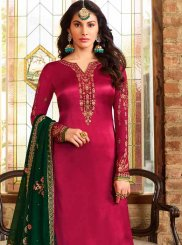 Fuchsia Embroidered Georgette Satin Churidar Designer Suit