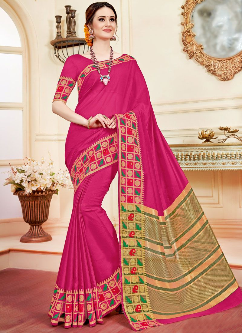 Fuchsia woven Work Cotton Silk Casual Saree