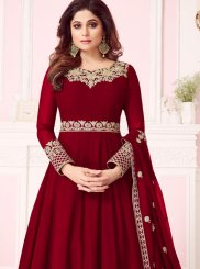 Georgette Anarkali Salwar Suit in Red