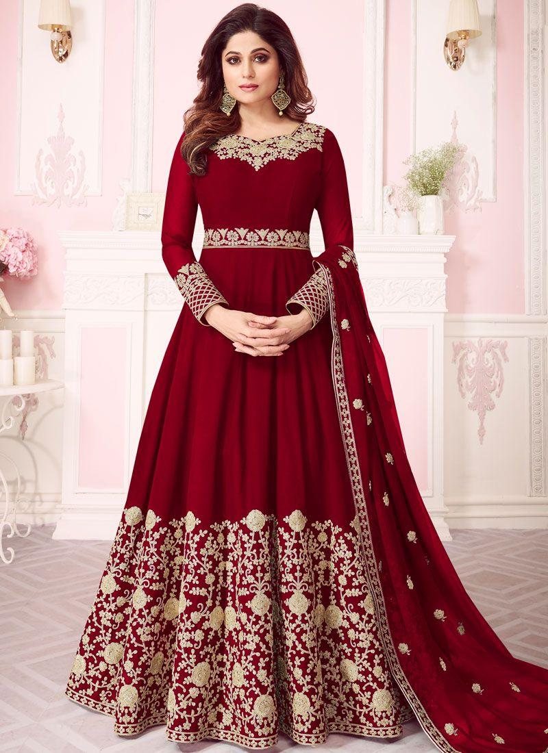 Georgette Anarkali Salwar Suit in Red