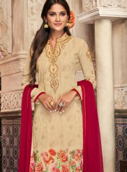 Georgette Beige Churidar Suit
