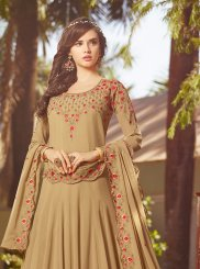 Georgette Beige Embroidered Anarkali Suit