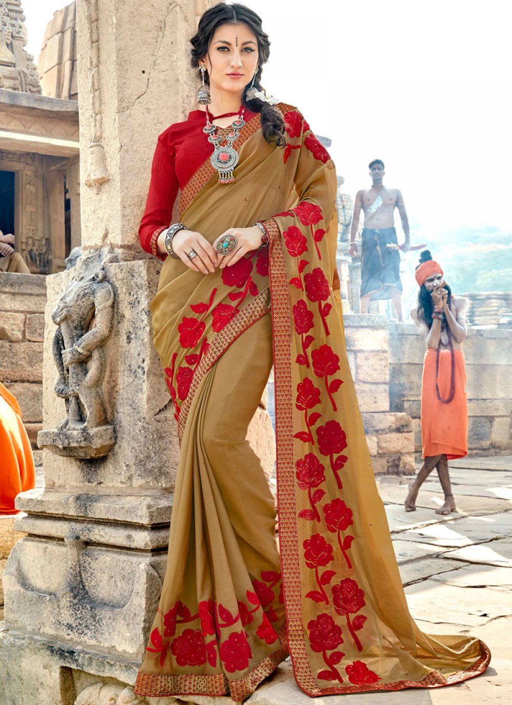 Georgette Beige Embroidered Classic Saree