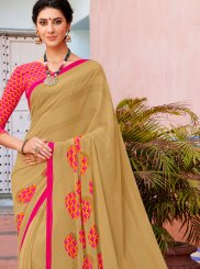 Georgette Beige Printed Casual Saree