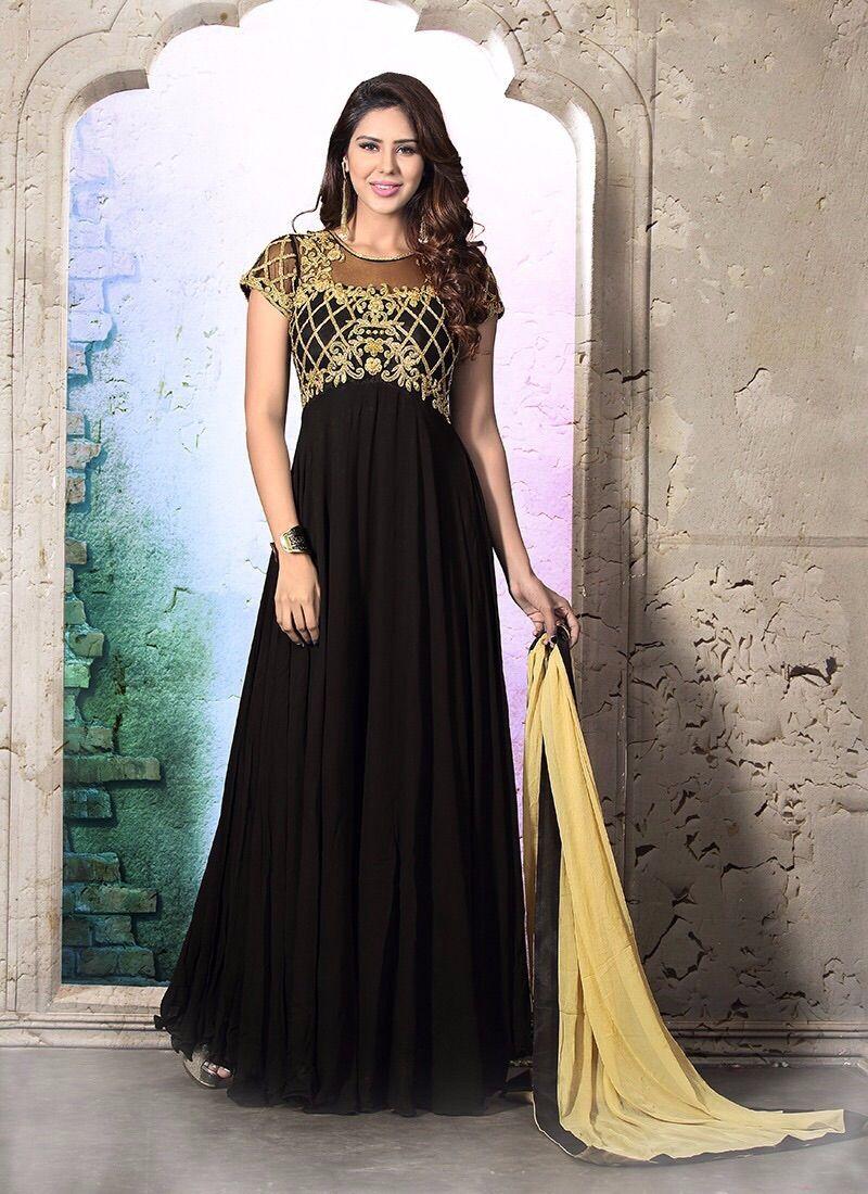 Georgette Black Anarkali Salwar Suit
