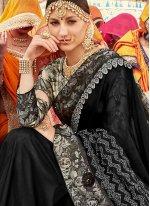 Georgette Black Printed Designer Traditional Saree