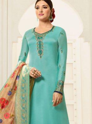 Georgette Blue Designer Palazzo Suit
