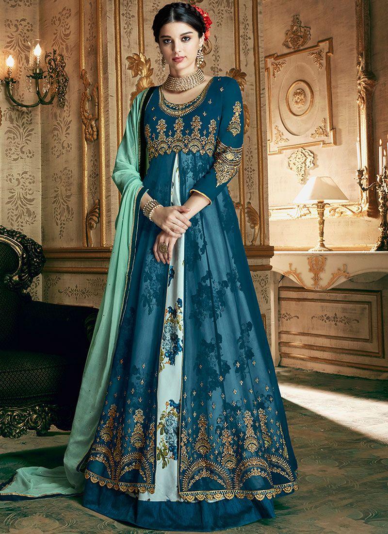 Georgette Blue Embroidered Designer Anarkali Suit