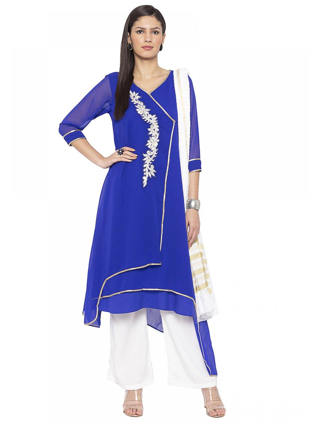 Georgette Blue Printed Designer Salwar Kameez