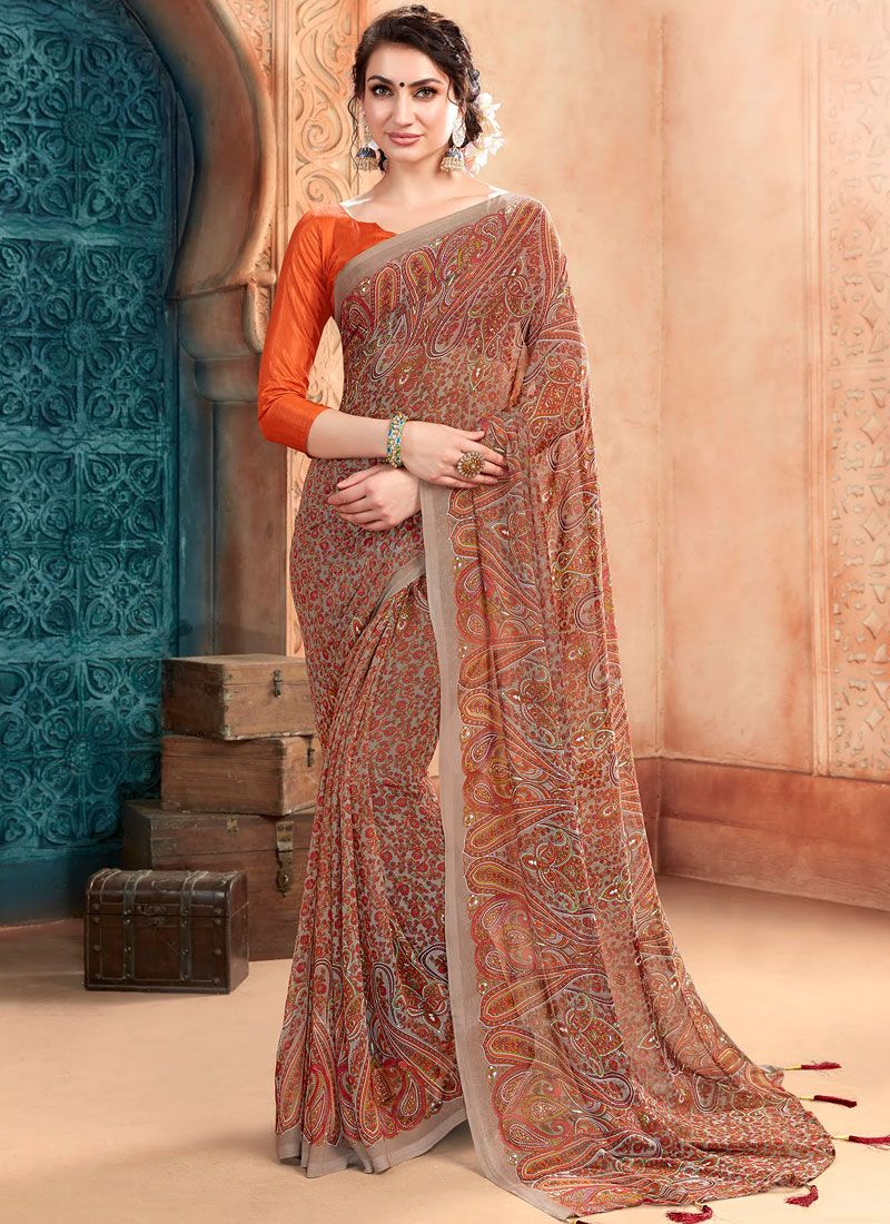 Georgette Brown Casual Saree