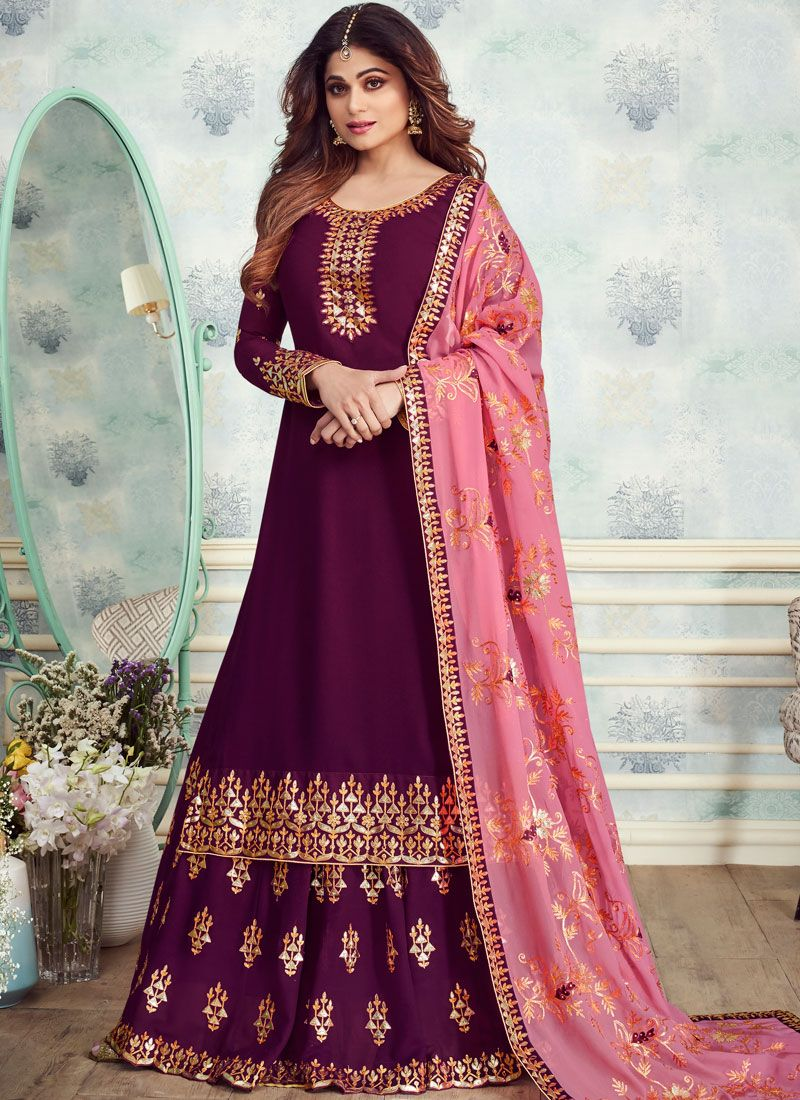 Georgette Brown Designer Salwar Kameez