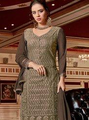 Georgette Brown Palazzo Designer Salwar Kameez