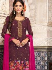 Georgette Churidar Designer Suit in Purple